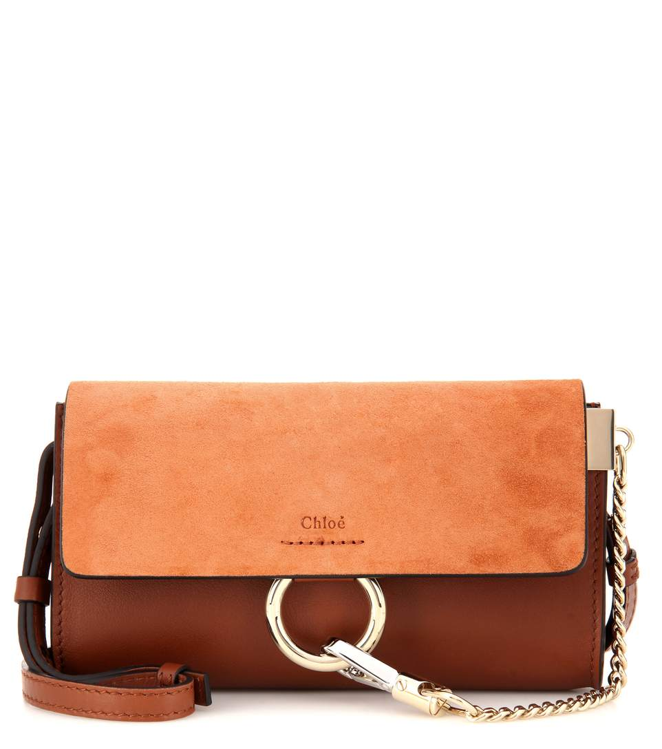 Faye Suede/Leather Wallet-On-A-Strap, Classic Tobacco, Classic Tolacco