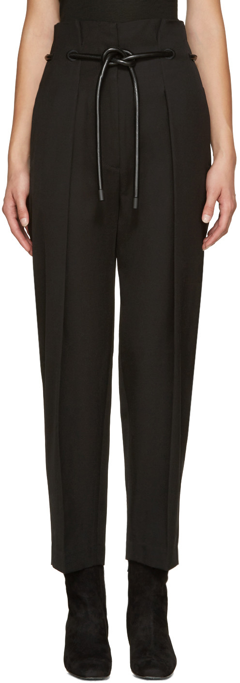 Black Tailored Pleated Trousers