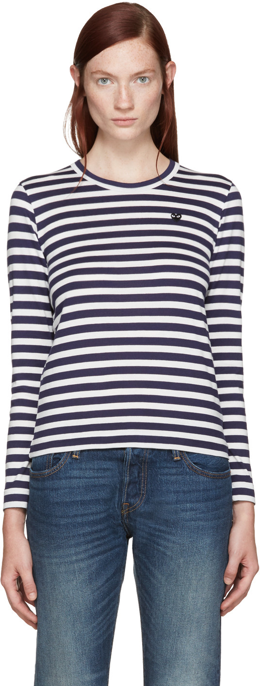 Comme Des Garcons Play Navy And White Striped Small Heart Patch T-Shirt, 1 Navy/White