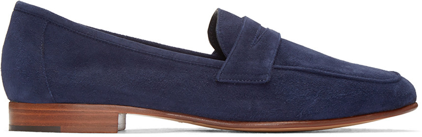 'Classic' Suede Penny Loafers in Blue
