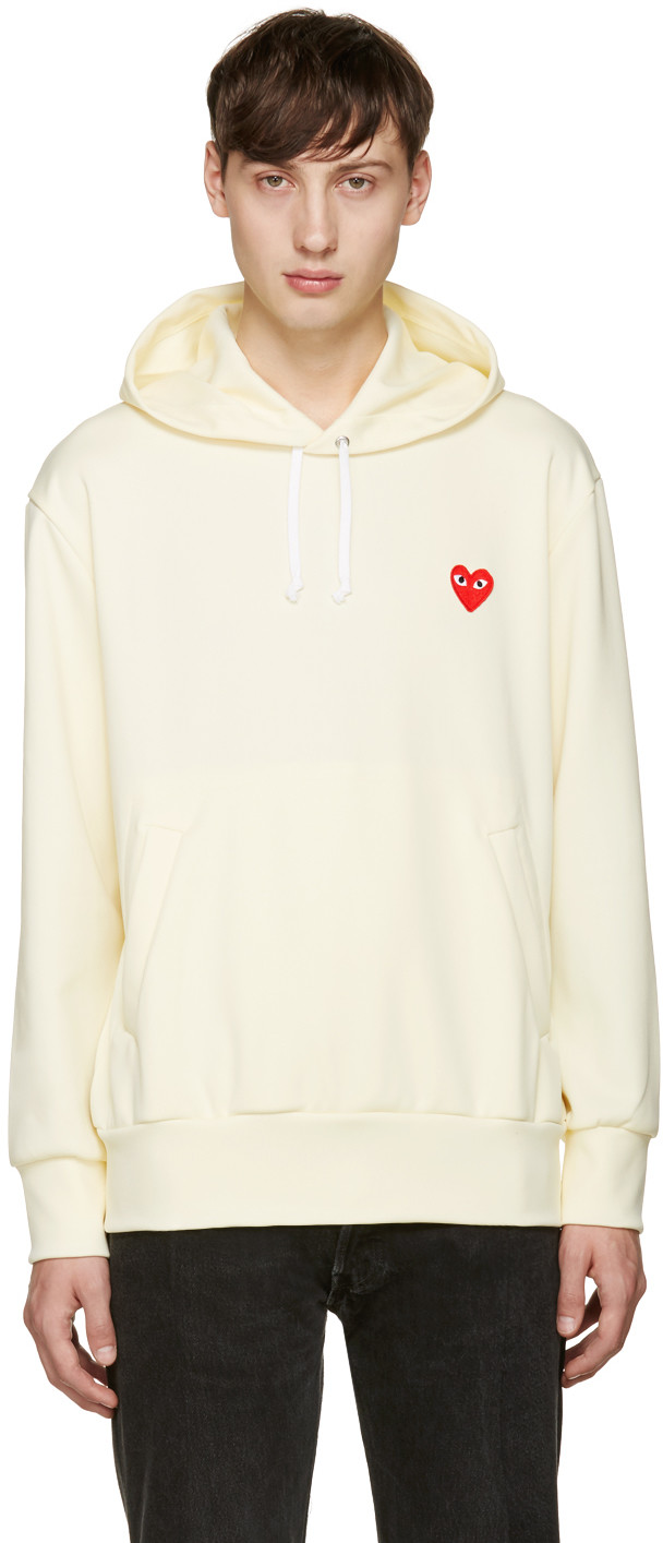 COMME DES GARÇONS PLAY Comme Des Garcons Play Zip Poly Hoodie With Red Emblem In Neutrals in White