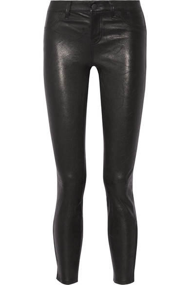 Lagence Adelaide High Waist Crop Leather Jeans in Noir
