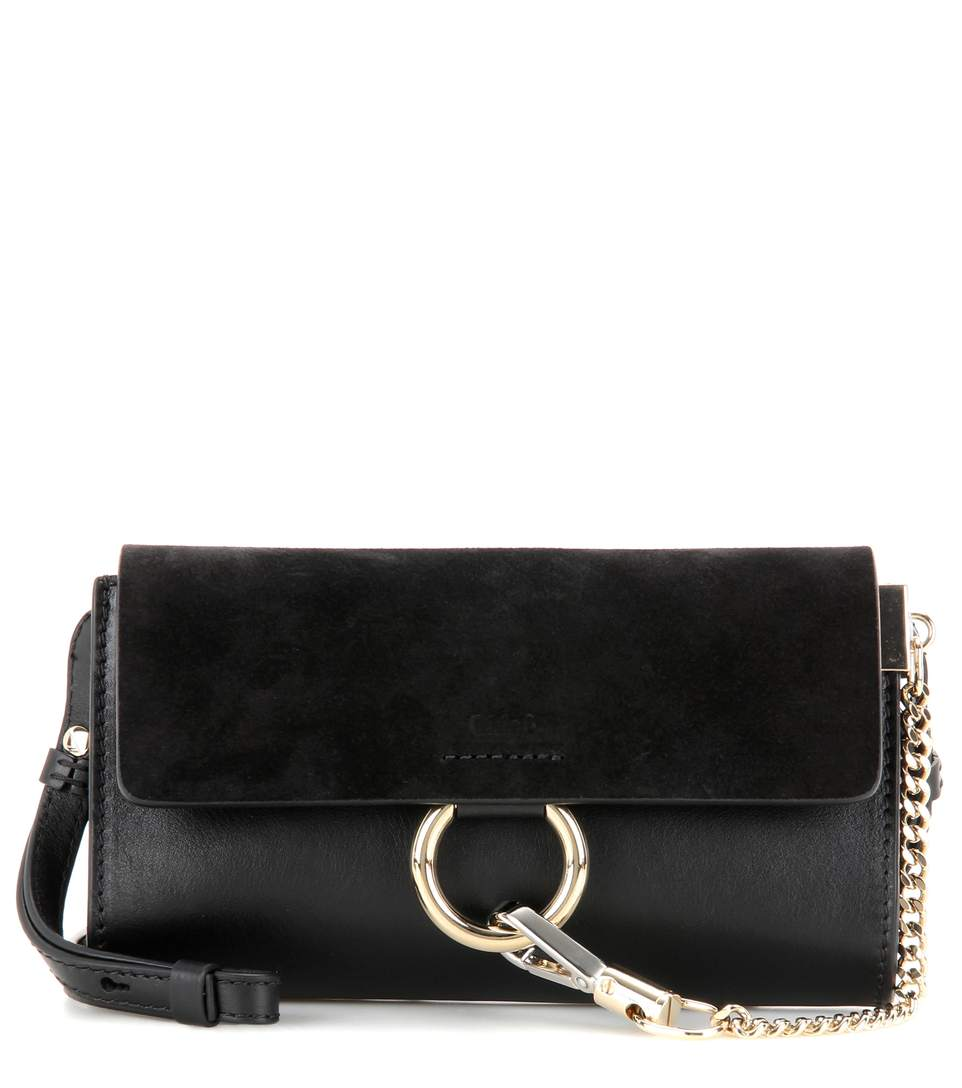 Mini Faye Suede & Leather Wallet On A Chain, Black