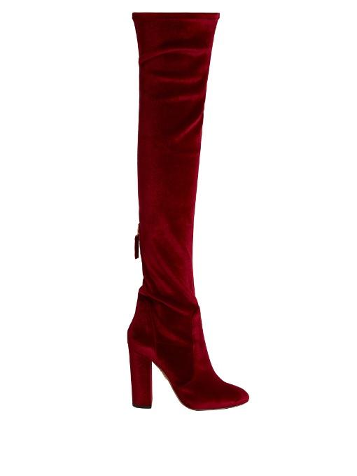 AQUAZZURA Velvet Over-The-Knee Boots in Crimsoe