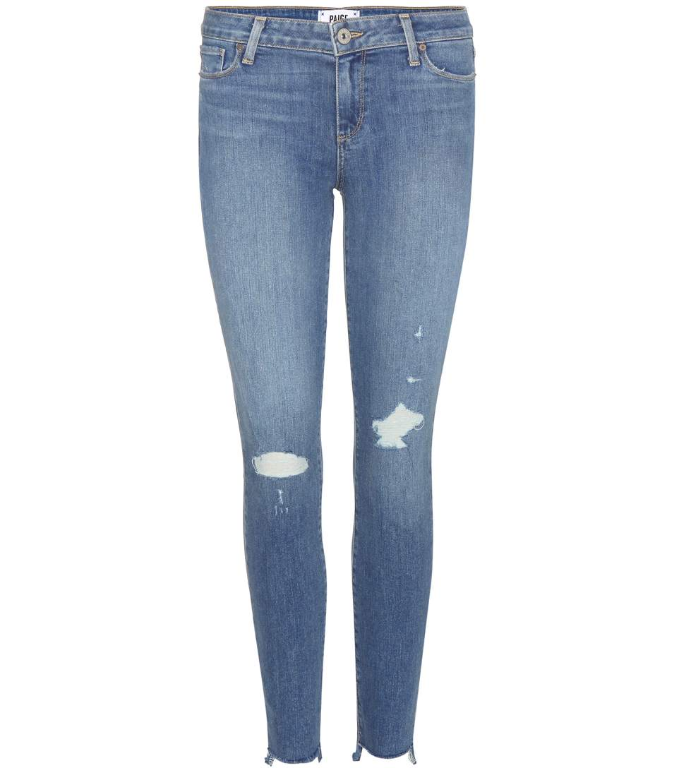Verdugo Ankle Distressed Skinny Jeans in Blue