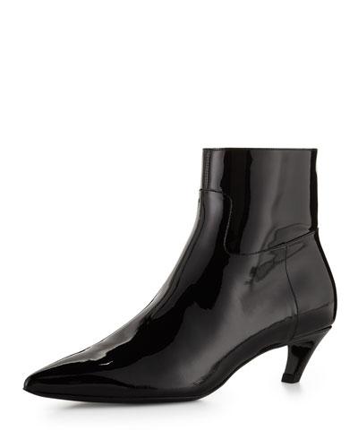 Patent Crooked-Heel Boot, Black (Noir)