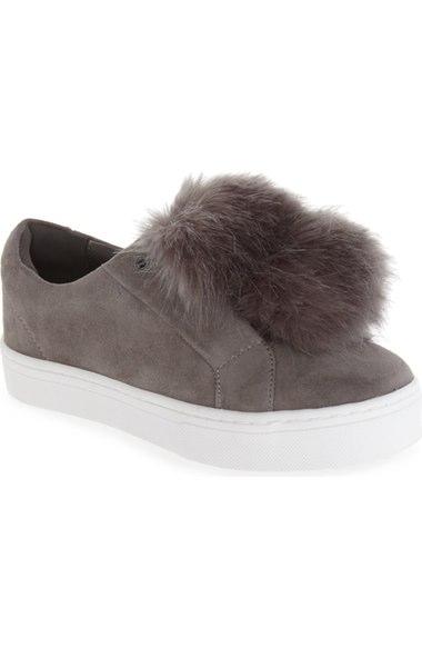 8d2529828c4db Sam Edelman  Leya  Faux Fur Laceless Sneaker (Women) In Grey Suede ...