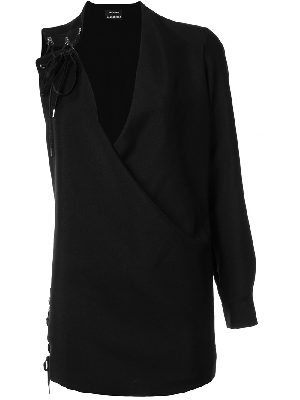 ANTHONY VACCARELLO One Sleeve Lace-Up Dress in Black
