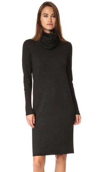 Cowl Neck Sweater Dress In Black