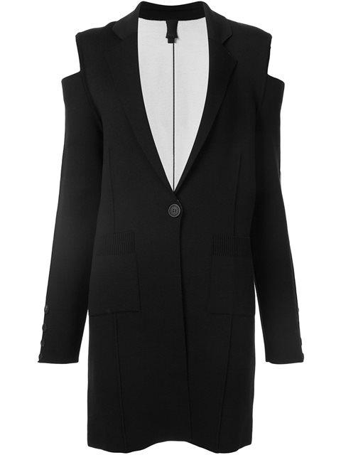 VERA WANG Vera Wang Cold Shoulder Knit Coat - Black