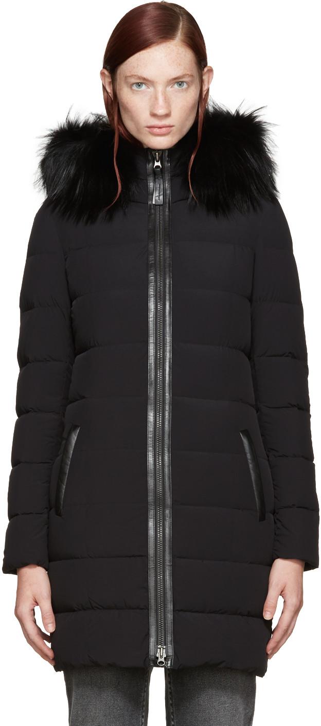 Calla Fox Fur Down Coat, Black