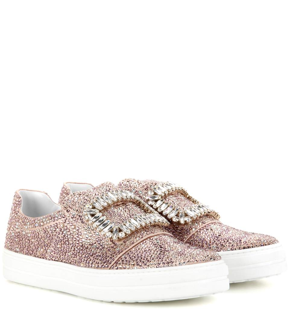 Sneaky Viv Crystal-Embellished Lace Slip-On Sneakers