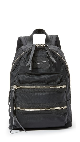 Biker Mini Leather-Trimmed Shell Backpack in Black