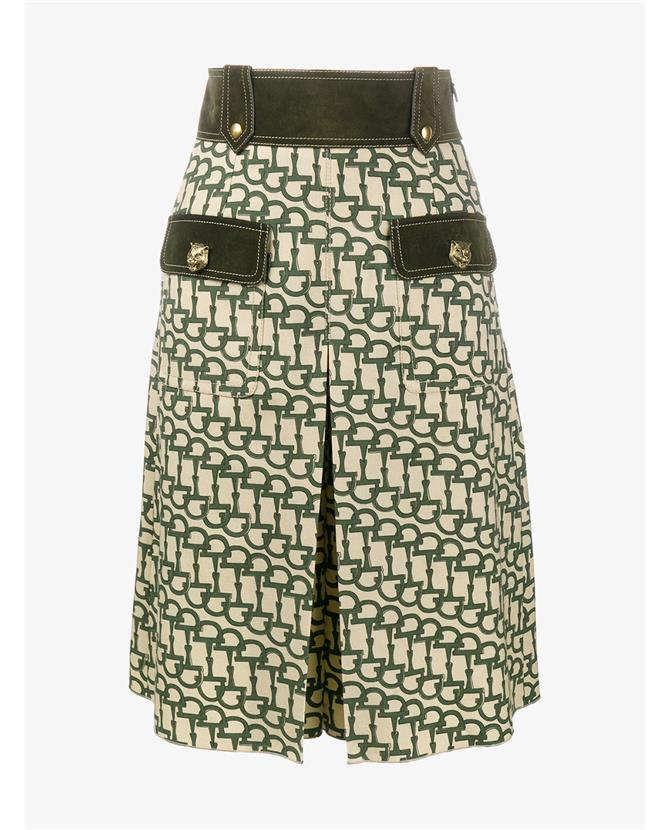 Horsebit Print Wool Knee-Length Culottes, Greee Prieted