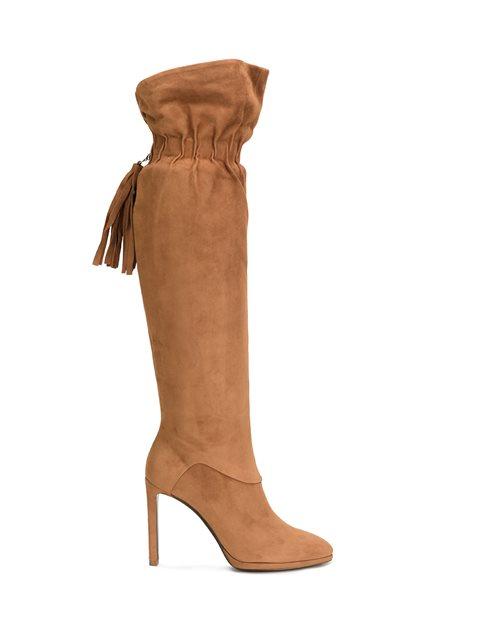 Tasselled Knee High Boots, Brown