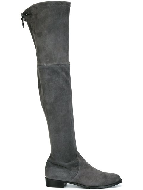 Lowland Suede Over-The-Knee Boot, Slate, Grey