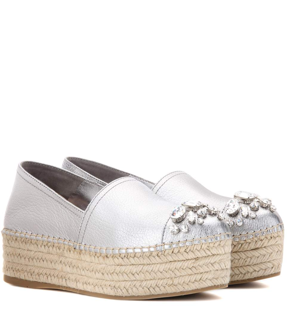 Outlet Purchase Cheap Price Miu Miu Leather Platform Espadrilles Cheap Sale Limited Edition KXUmX0jyl