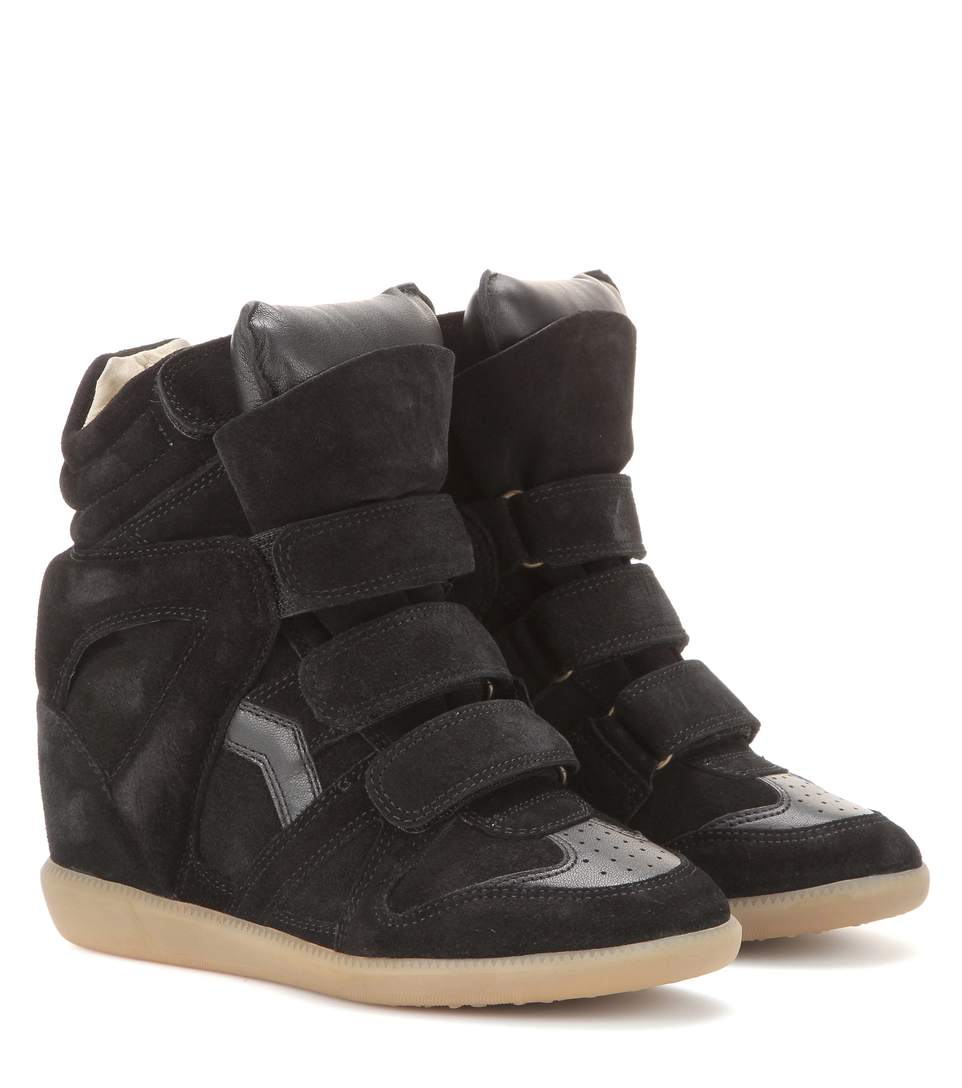 Bekett Leather-Trimmed Suede Wedge Sneakers, Black