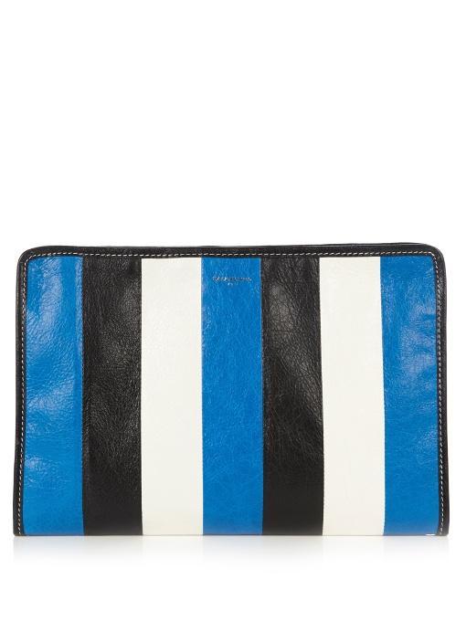 Bazar Striped Textured-Leather Pouch, Cobalt-Blue
