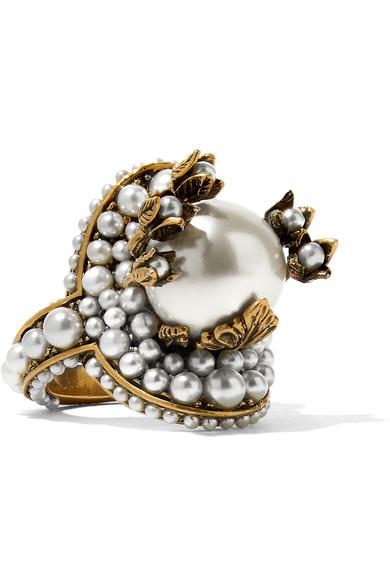 Pearl-Effect Embellished Flower Ring, Antique-Effect Gold-Tone Metal