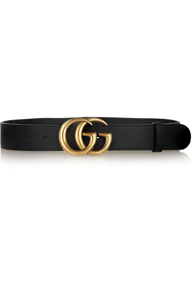 Leather Belt With Double G Buckle, Black Leather