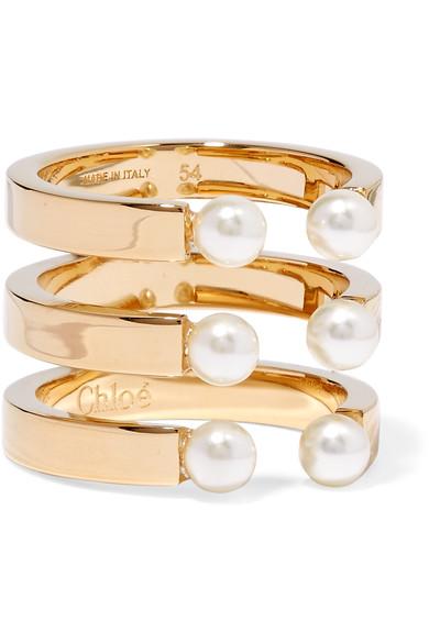 'Darcey' Three Row Swarokvski Pearl Ring, Gold