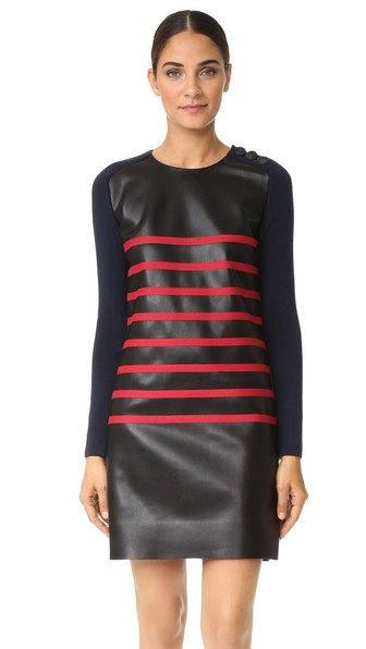 Cedric Charlier Cdric Charlier Two Tone Striped Dress Black