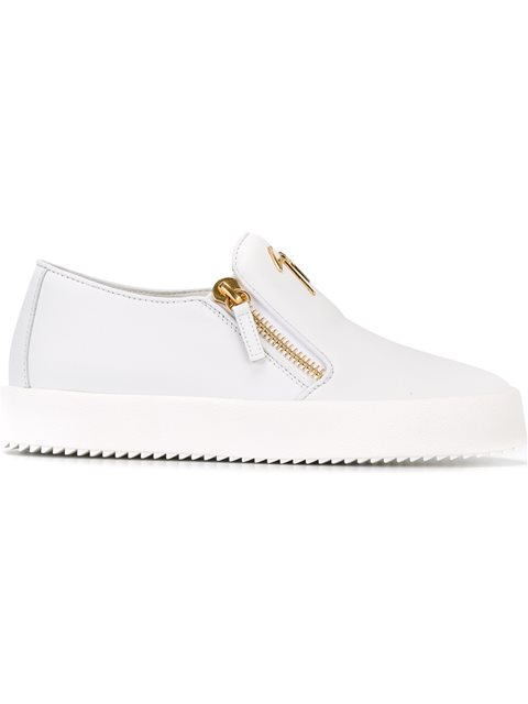 - White Calfskin Low-Top Sneaker Eve