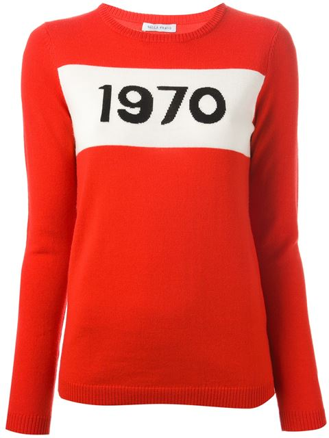 1970 Graphic Pullover Sweater in Red