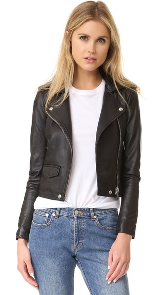 Ashville Cropped Leather Jacket in Black