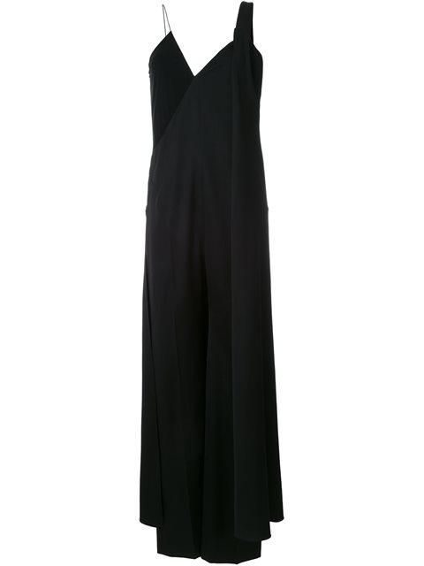 Cape-Back Wide-Leg Wool Jumpsuit, Black