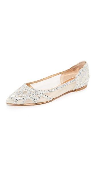 BADGLEY MISCHKA Gigi Pointed-Toe Evening Flats Women'S Shoes in Ivory