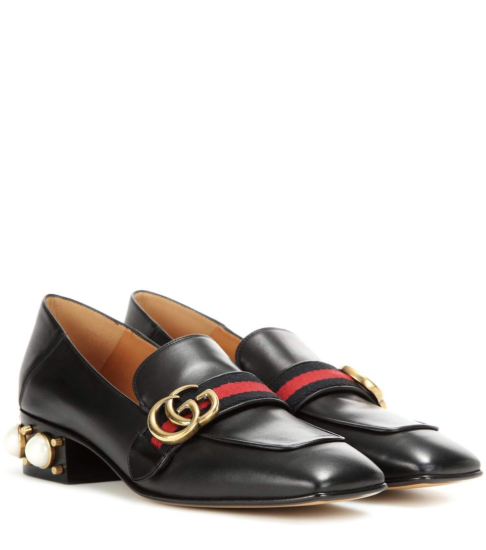 Marmont Logo And Faux Pearl-Embellished Leather Collapsible-Heel Pumps, Black Leather