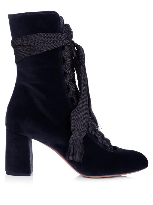 Harper Velvet Lace-Up Chunky High-Heel Booties, Navy