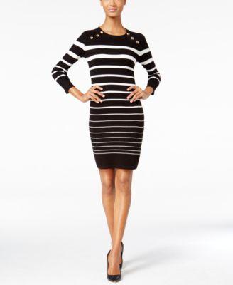 Calvin Klein Petite Striped Sweater Dress In Black White Modesens