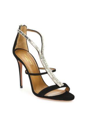 Constance Crystal-Embellished Suede Sandals, Black
