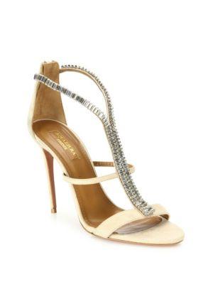 Constance 105 Crystal-Embellished Suede Sandals, Nude