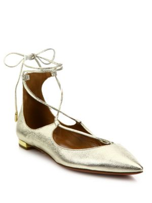 AQUAZZURA Christy Metallic Leather Lace-Up Flats, Light Gold