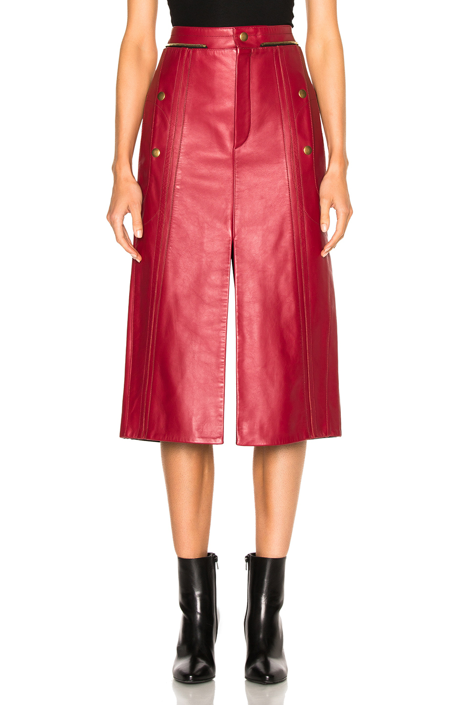 Chloe Leather & Nubuck Biker Skirt In Red. , Pinky Red