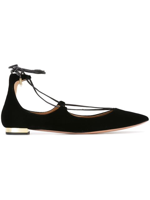 Christy Lace-Up Pointed-Toe Flat, Black