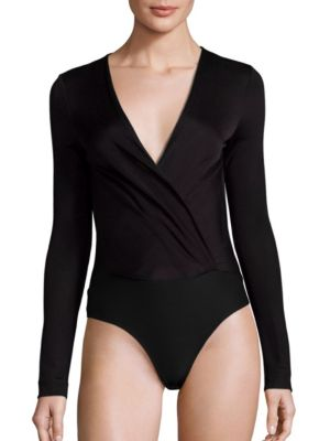 DIANE VON FURSTENBERG Lala Long-Sleeve Surplice Bodysuit in Black