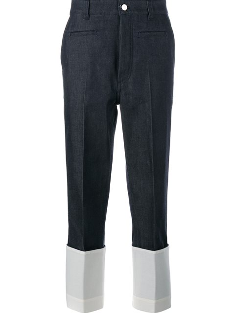 Straight-Leg Fisherman Jeans W/ Contrast Cuffs in Blue