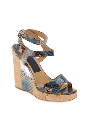 lowest price cheap online Salvatore Ferragamo Embossed Leather Wedge Sandals cheap sale Cheapest buy cheap fashionable tpAmIbEI