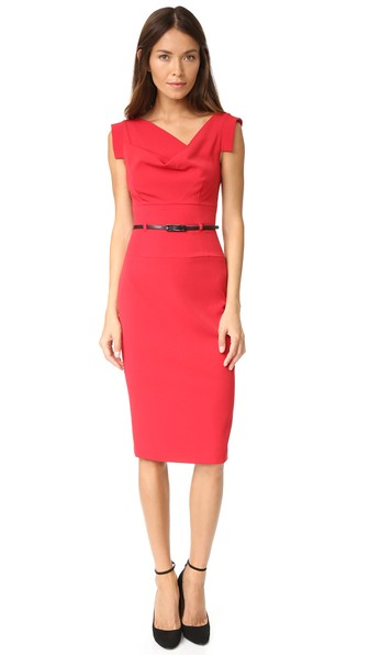 Jackie O Belted Dress in Red