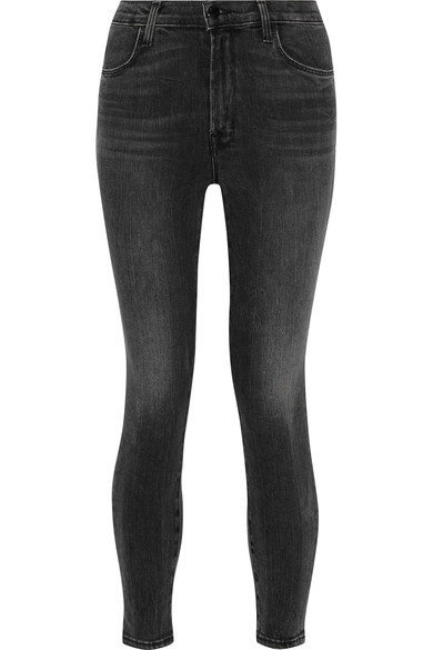Alana High-Rise Cropped Super Skinny Jeans W/ Ladder Lace, Black, Vanity