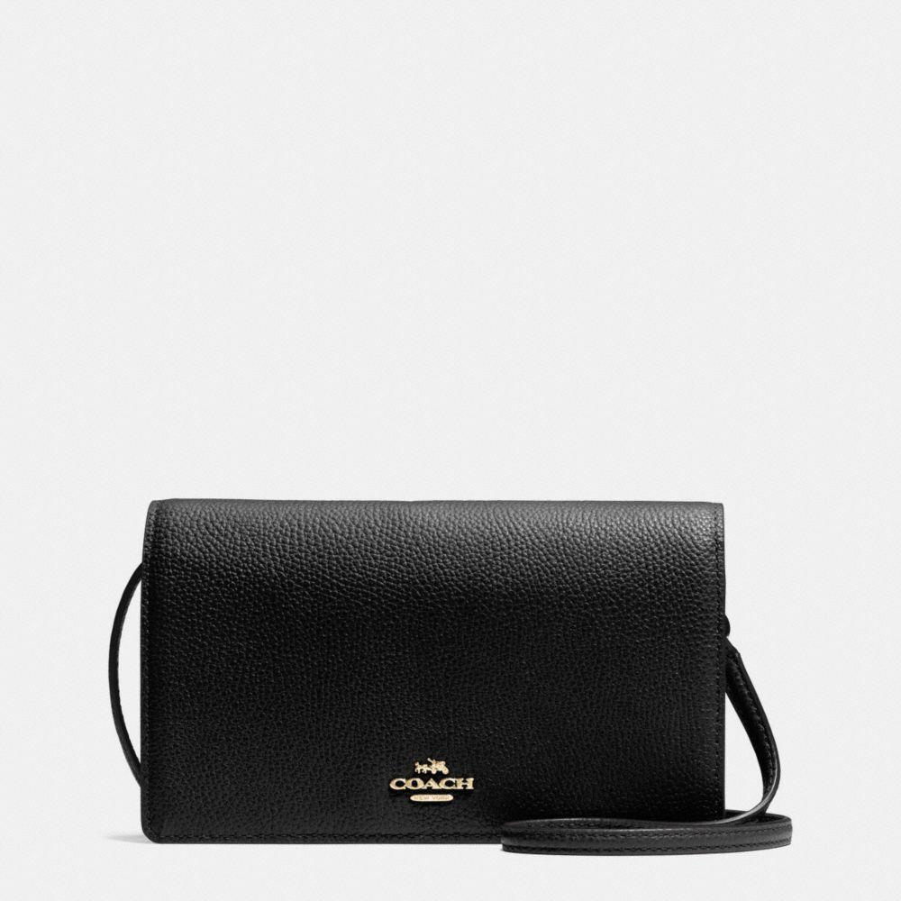 Foldover Crossbody Clutch In Polished Pebble Leather in Black/Light Gold