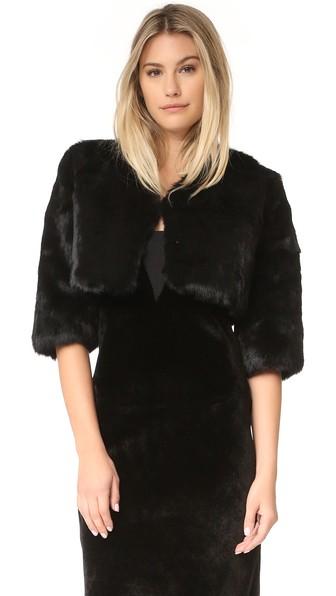 ADRIENNE LANDAU Little Fur Jacket in Black
