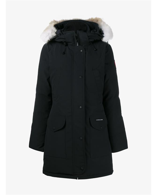 CANADA GOOSE Trillium Down-Quilted Fur-Trimmed Parka in Black