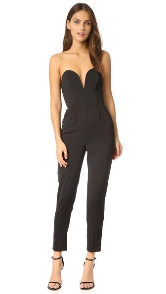 AMANDA UPRICHARD Cherri Strapless Cropped Jumpsuit in Black