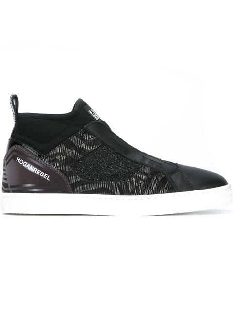HOGAN REBEL Women'S Shoes High Top Trainers Sneakers  R182 Mid Cut Elastici in Black